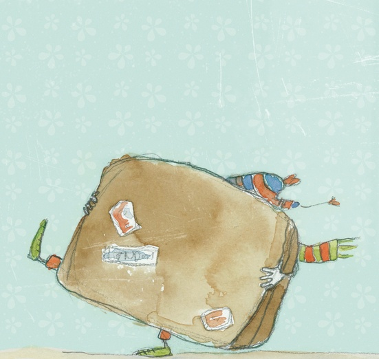- adorable, bag, big, blue, brown, cartoon, cartoony