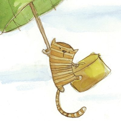 Cat with umbrella