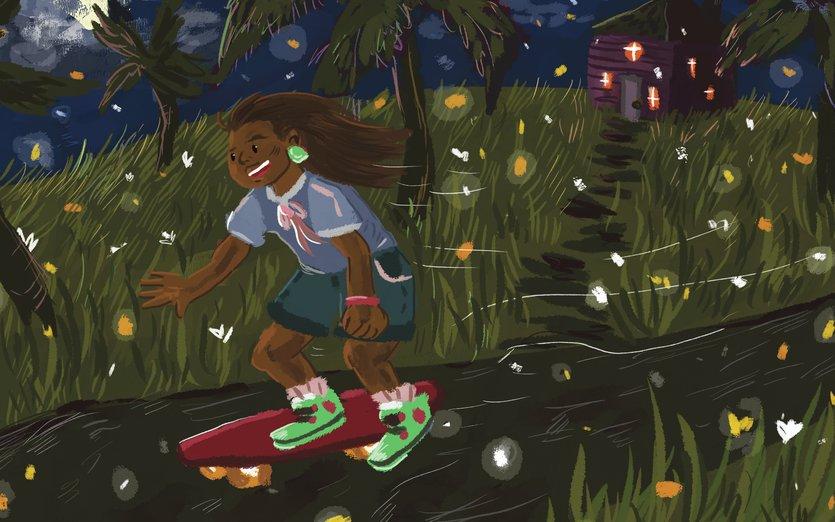 - firefly, girl, island, night, skateboard