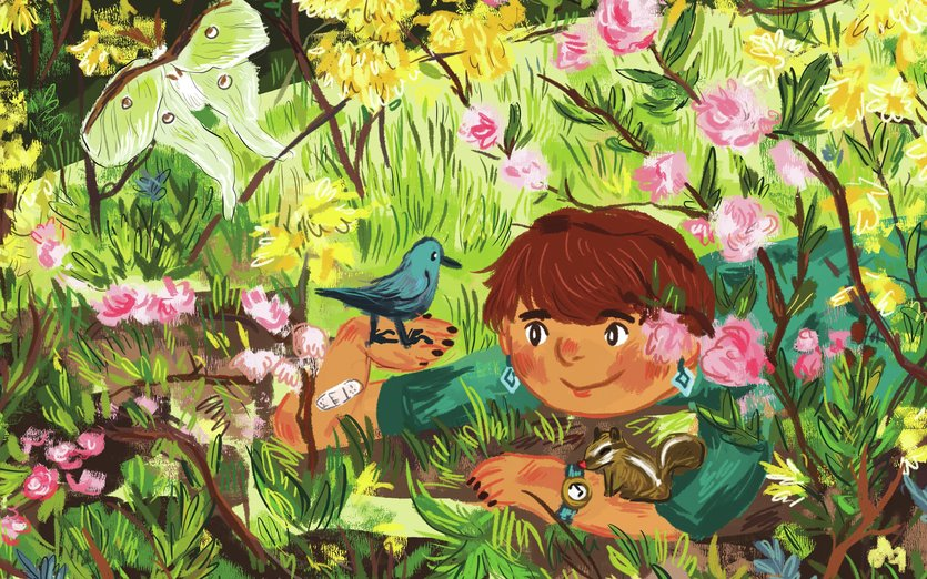 - adventure, bird, chipmunk, critters, flowers, forest, magical