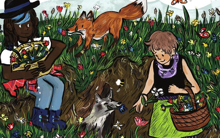 - fields, flowers, foxes, friends, garden, nature
