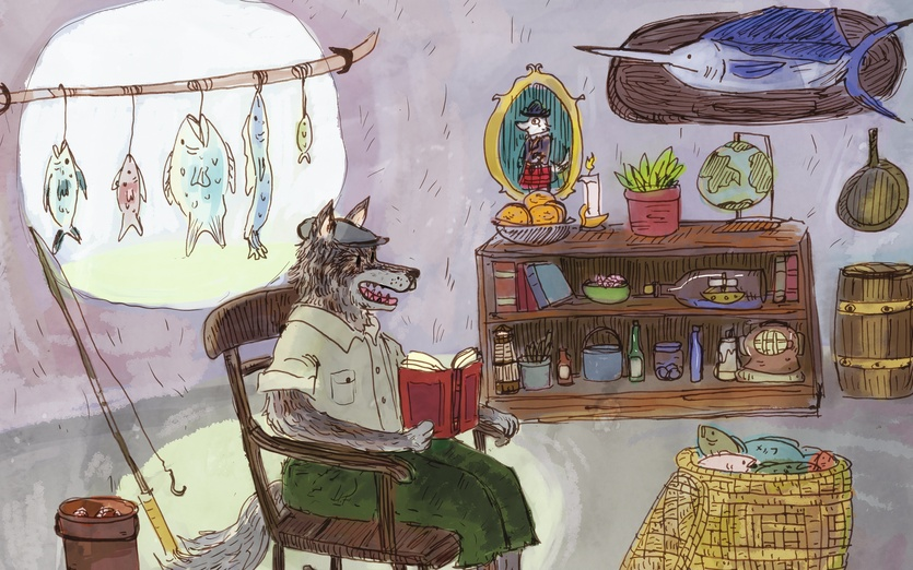 The wulver is a kind of werewolf that is part of the folklore of the Shetland islands off the coast of Scotland.  - animal, books, bookshelf, bottles, box, chair, colored