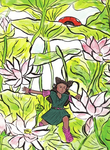 Determined little leaf girl and the lotus garden