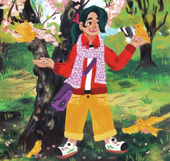 - adventure, adventurer, bird, blossom, canary, cherry, child