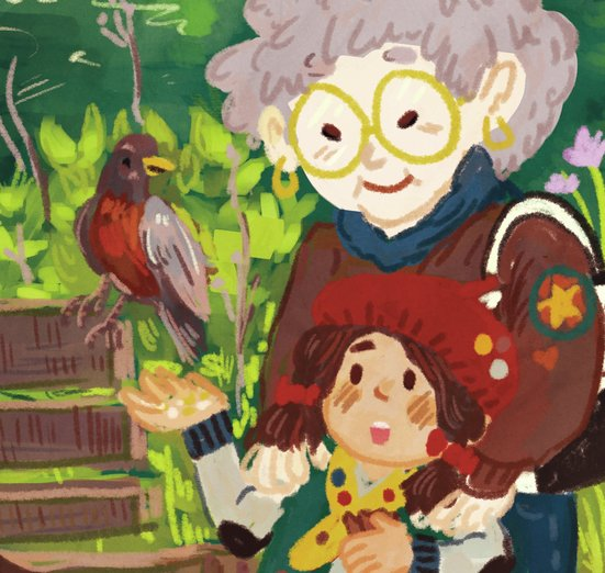 - birds, family, girl, grandma, grandmother, nature, park