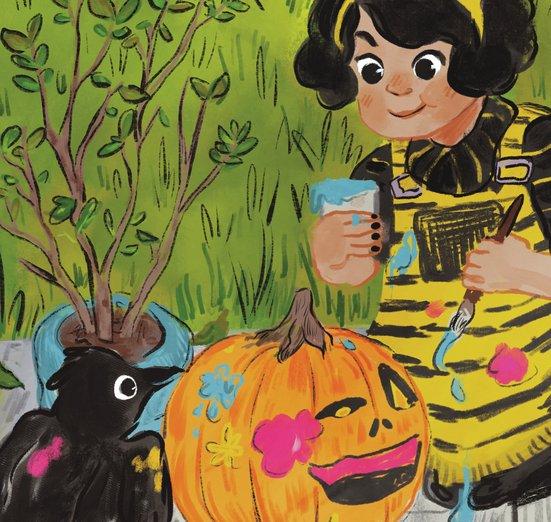 - costume, crow, festive, girl, halloween, paint, pumpkin