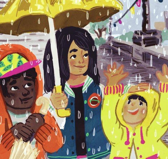 - children, friends, rain, sisters, storm, umbrella