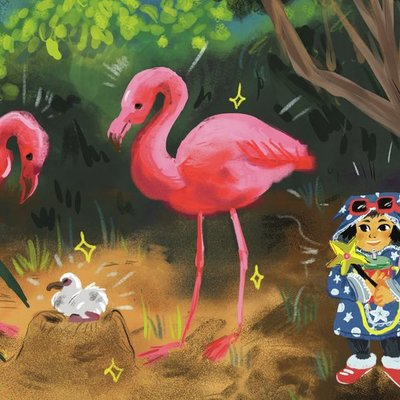 Flamingo Family and the Witch