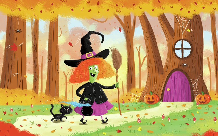 - adorable, art, autumn, black, bright, broom, broomstick