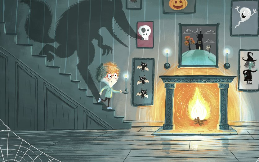 - bats, boy, cobwebs, creepy, fire, fireplace, ghost