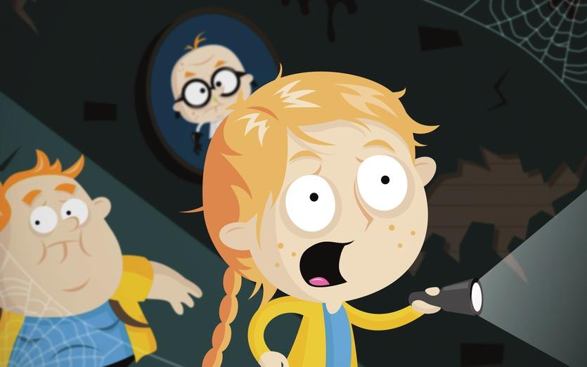 Two kids creep down a spooky corridor  - adorable, black, blue, brightcolored, brightcolors, cartoon, cartoony