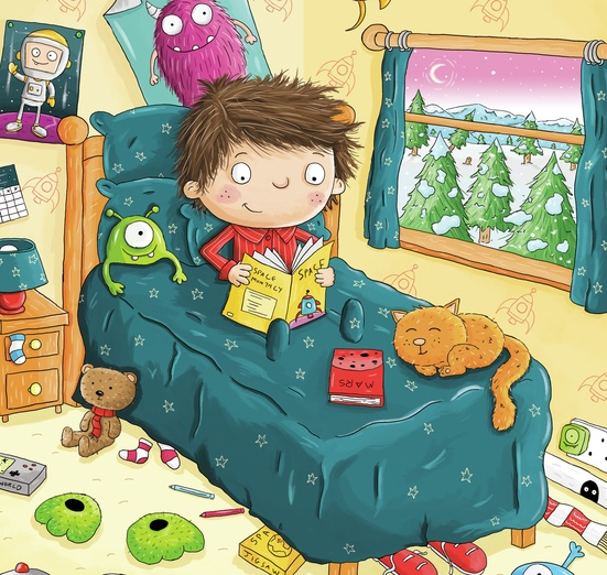 A boy reading space in his bedroom - adorable, alien, art, bed, bedroom, bedside, blue