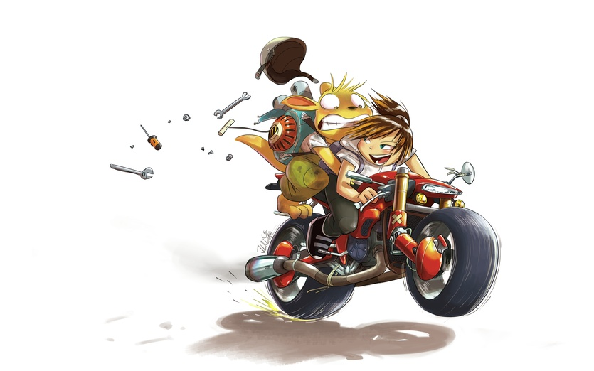 I can't resist doing a scene with @GoGo_the_MagLev_Girl 's human character Kat and her awesome motorcycle! I hope I depicted her correctly, apologies if I accidentally butchered Kat.