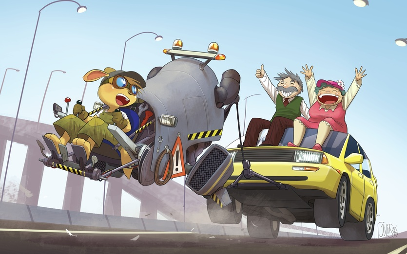 With the newly engineered 'Donkey' hover truck, highway roadside assistance has never been more fun, easy, and fast. - adorable, assistance, automobile, blue, breakdown, brightcolored, brightcolors
