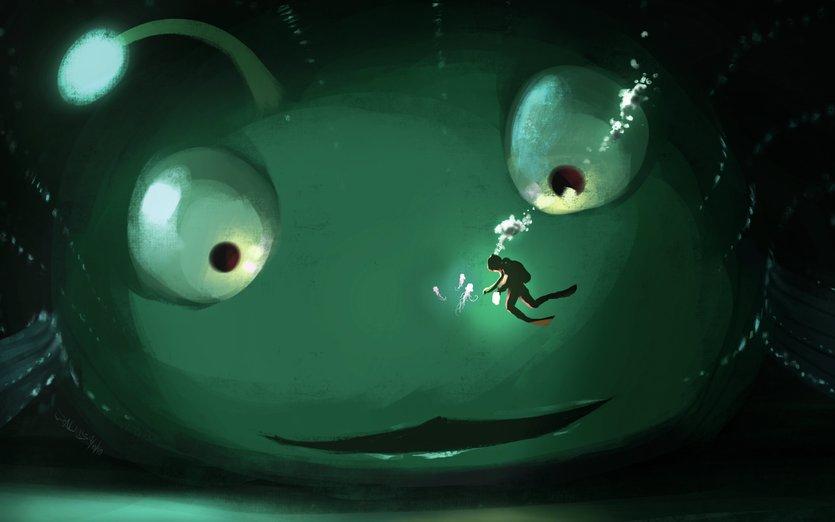 Oh-oh. - abyss, anglerfish, awe, behemoth, bio-luminescence, bio-luminous, blue
