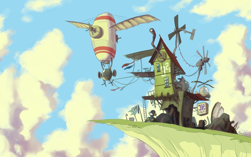 A junk shop on a white cliff high in the sky.  The colouring for this piece of art is done by my partner. Her website is at http://aimee5.deviantart.com - action, adventure, air, airplane, airship, art, blue