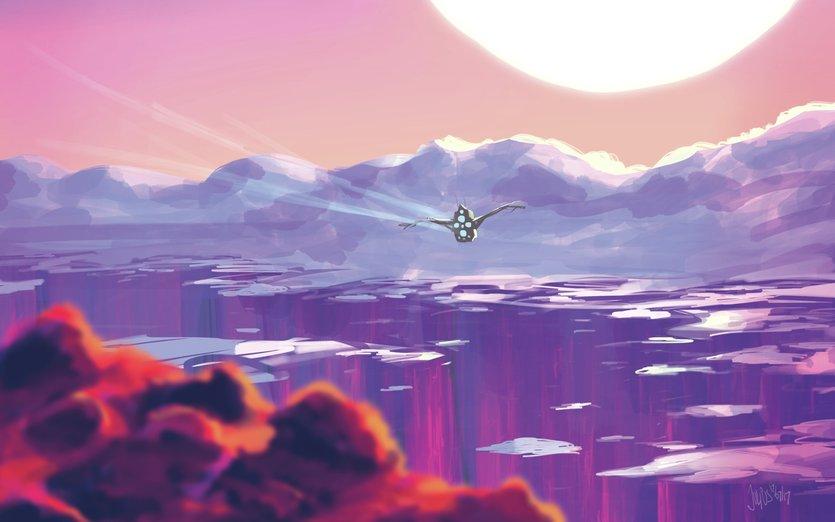 - alienplanet, aliensunrise, alienworld, awe, beautiful, canyon, desert