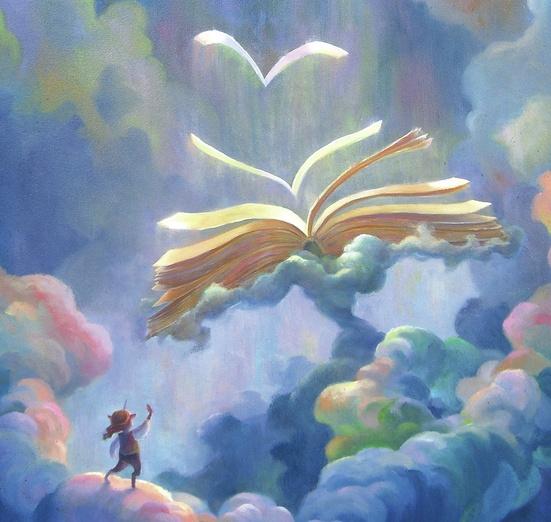 - beautiful, blue, book, clouds, floating, flying, highflyingartwork