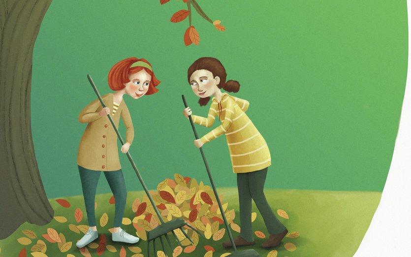 - autumn, branches, brunette, fall, friends, friendship, girl