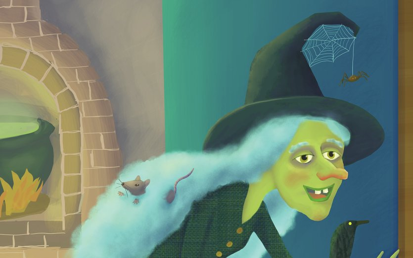 - cane, cauldron, crone, doorway, fireplace, halloween, hat