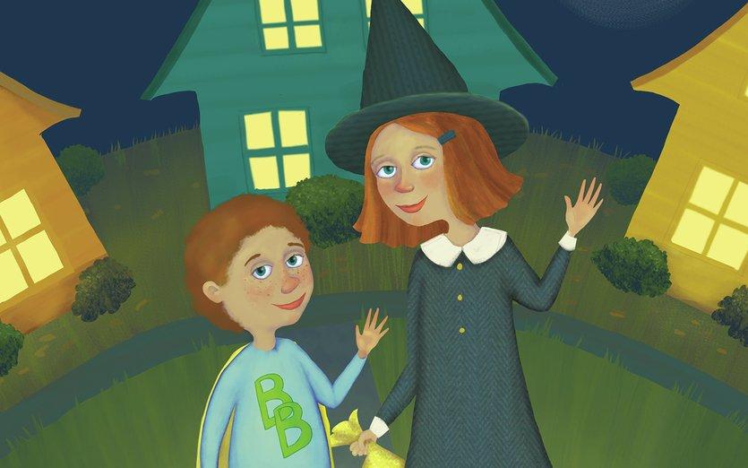 - boy, cat, costume, girl, halloween, homes, moon