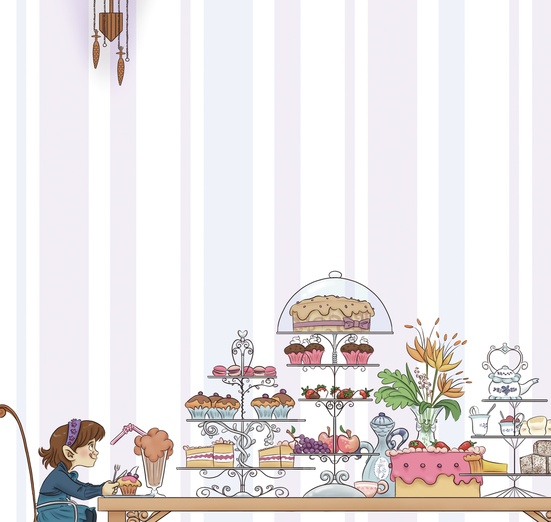 - afternoon, blue, brown, cakes, cartoon, cartoony, colored