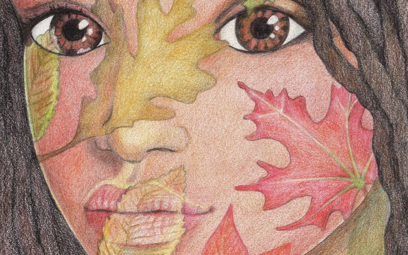The warm brown of this lovely girl's skin tone inspired a fantasy of autumn leaves. - autumn, beautiful, brown, eyes, fall, girl, green