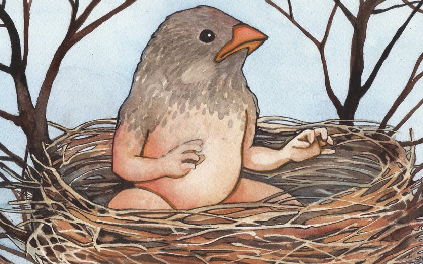 Just hatched! - baby, bird, blue, fairy, fantasy, forest, metamorphosis
