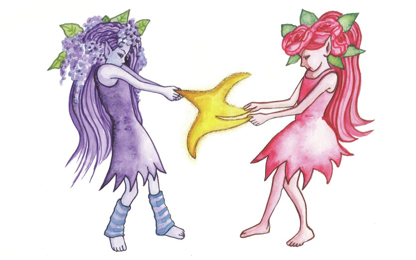 These pixies both want the star - angry, arguement, conflict, elf, elves, fairies, fairy