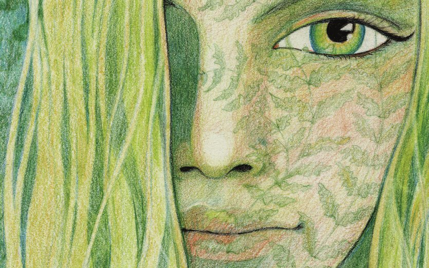 I was playing around with pencil crayons and this girl in the ferns (or ferns in the girl) emerged on my page. Some people say she looks like an elf. - beautiful, blue, elf, eyes, ferns, girl, green