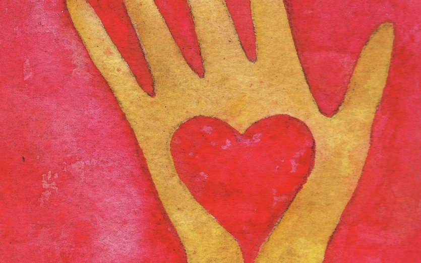 This hand represents Love: that emotion that springs from the center of our lives. - hand, happy, heart, love, loving, red, symbol