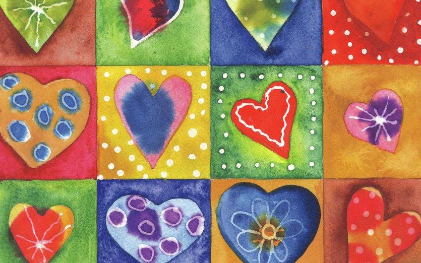 A cheerful little illustration all about love. - blue, cheerful, colorful, day, green, heart, hearts