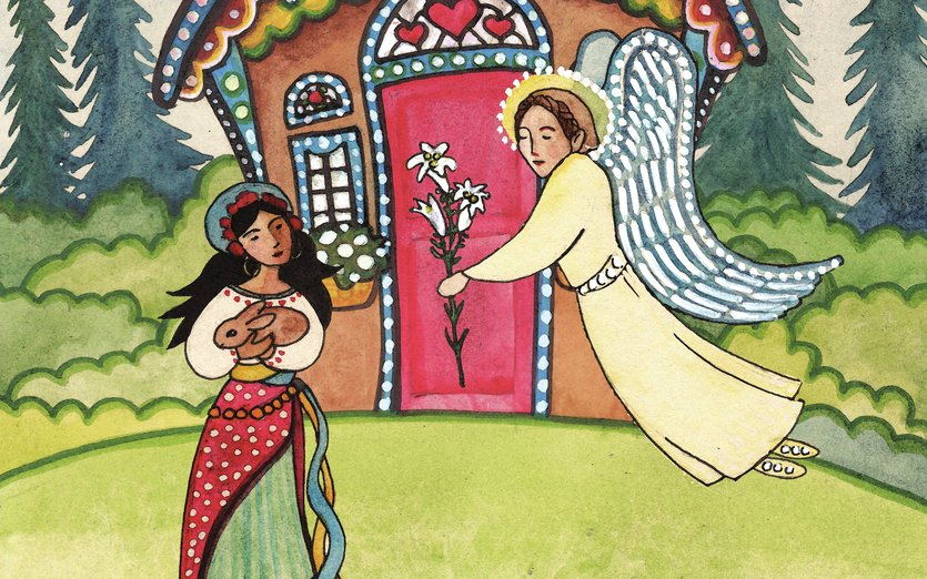 An angel appears to the young woman and hands her a lily: a symbol of purity. This is part of a Nativity series I am painting in an Eastern European folk art style. - angel, baby, bunny, christmas, colorful, flower, forest