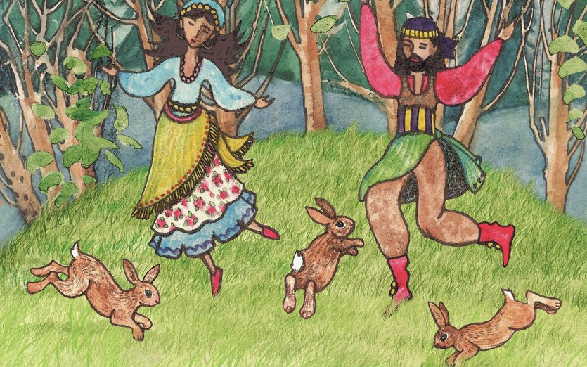 This is the first painting in a series that I am creating based on the Nativity story. My approach will be a little bit more colorful than typical pictures about the birth of Jesus. This version is set in a forest and features the intricate costumes and designs of Eastern European folk art. Hope you enjoy using them to write the Baby Jesus story in your own creative way. Happy Holidays! - bunnies, bunny, christmas, colorful, dance, dancers, dancing