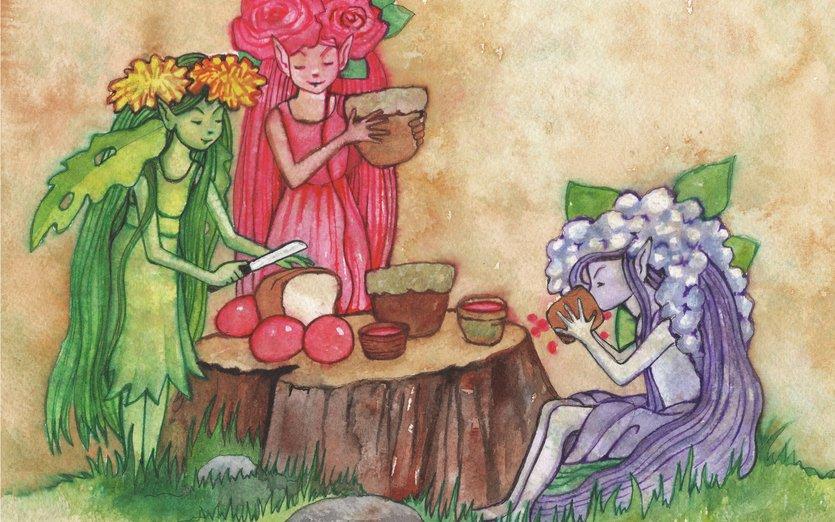 The Pixie Girls are enjoying a picnic - berries, dandelion, elf, elves, fairy, flowers, food