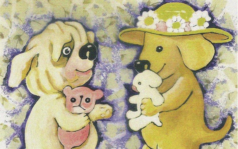 Puppy makes a friend - bear, blue, daisy, dog, flower, friend, friendship