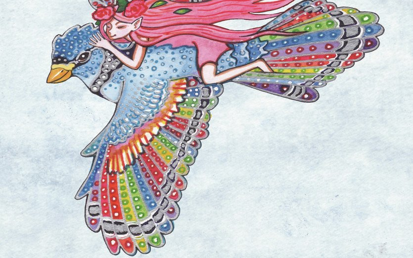 Rainbow Bird and Rose Pixie up in the cloudy sky - bird, color, colorful, colors, elf, fairy, flight