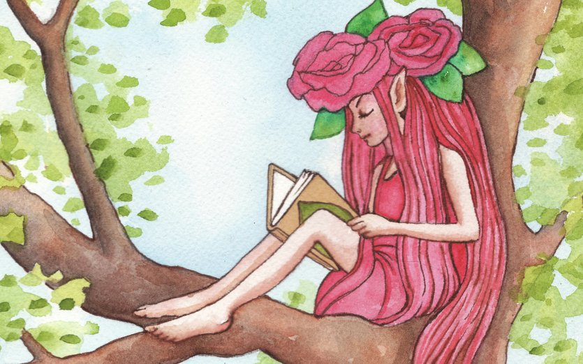 There's nothing like a good book - even if you're a pixie! - a, book, fairy, fantasy, green, land, magic