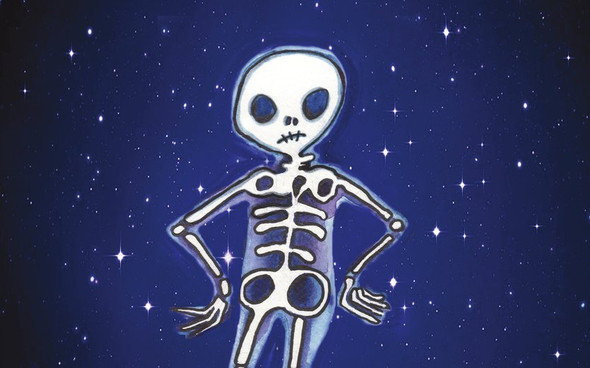 A little skeleton just wondering what it's all about - blue, halloween, night, skeleton, spooky, stars, supernatural
