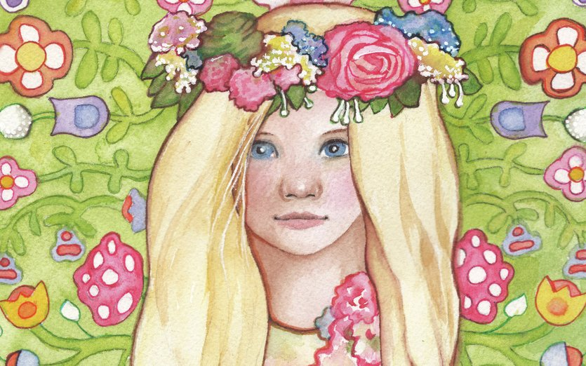 Pretty little spring time girl - blond, child, children, floral, flowers, girl, green