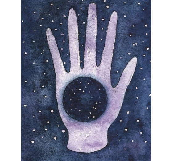 This hand represents the Eternal: we come from the stars and someday we will return. We are infinite! - dust, eternal, hand, heaven, infinite, infinity, purple