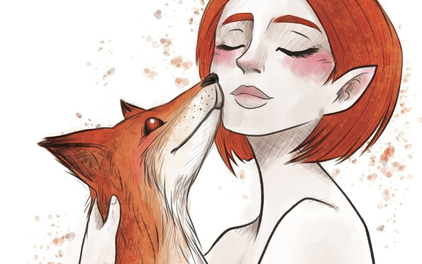 - animal, animals, cute, fox, foxes, friendship, girl