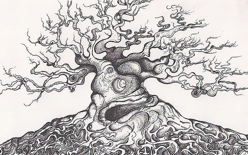 Pen - black, branches, detailed, details, earth, grey, ground