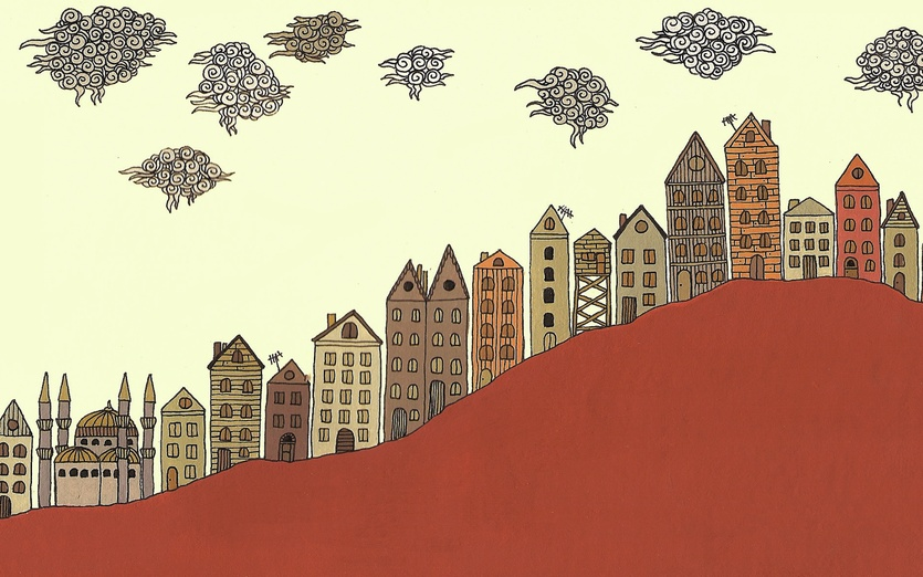 - buildings, cartoon, cartoony, clouds, colored, colorful, colors