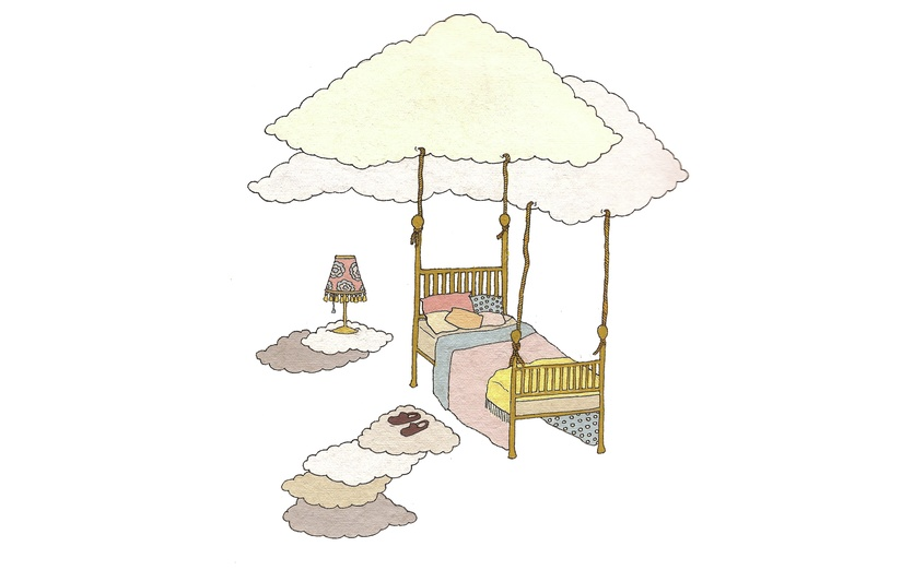 - adorable, bed, blue, cartoon, cartoony, character, clouds