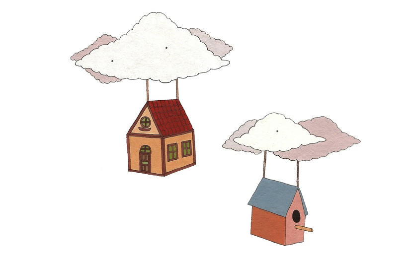 - blue, buildings, cartoon, cartoony, cloud, clouds, colored
