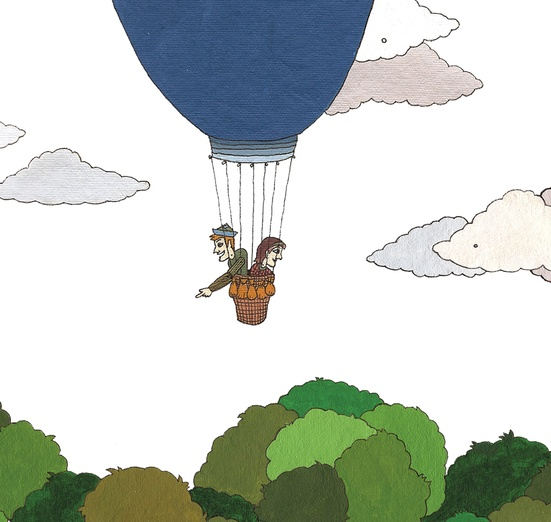 - air, balloon, brown, characters, clouds, colored, colorful