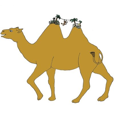 The camel and his little monkey friend