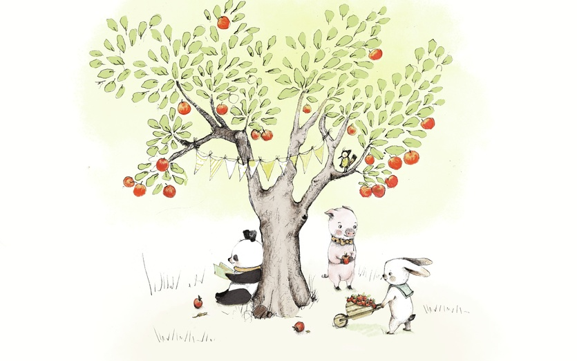 Hello!  THis is a little story about 3 friend and... tell me the rest!! <3 Paola - adorable, animals, apples, black, cartoon, cartoony, children