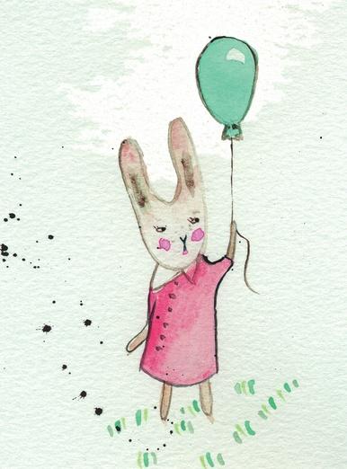 rabbit with balloon